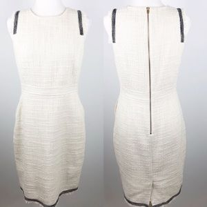 JCrew Tweed Sheath Dress Marine Salt White Sz 10